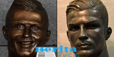 patung wajah ronaldo